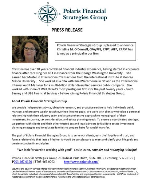 Christina Oconnell Press release